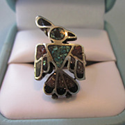 Vintage Native American Sterling Bird Ring With Crushed Turquoise and Coral, Size 6-1/2