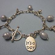 Sterling Silver and Freshwater Pearl 'It's A Boy' Charm Bracelet