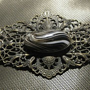 Huge Filigree Bronze Tone Brooch With Stone,