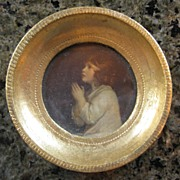 Vintage Small Gilt Framed Florentine Print - Child Praying