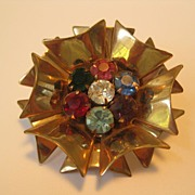 Spectacular Large Fancy Button With Rhinestones