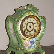 SALE Antique Porcelain Clock Ansonia Royal Bonn
