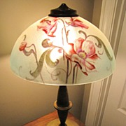 SALE Brass Lamp With Reverse Painted Shade