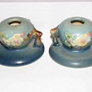 Roseville Pottery Apple Blossom Candlesticks
