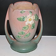 Roseville White Rose Vase 1940