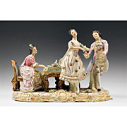 Large Platform Figural Porcelain Grouping of 18th Century Musicians