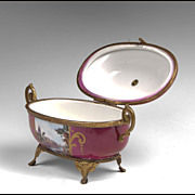 Early 20th  C. Hand Painted Sevres Style Jewelry Casket Mounted In Ormolu