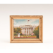 Miniature Painting of The White House, Kay A. Burton