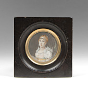 19th C. Miniature Watercolor Portrait Of Marie Louise Bonaparte