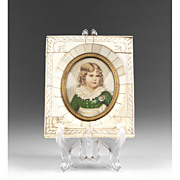 19th C. Miniature Watercolor Portrait Of Napoleon II Bone Frame
