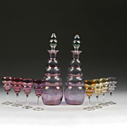 Venetian Hand Blown Decanter Set, Multiple Colors