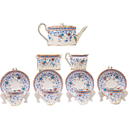Petite Sprig Decorated English Osborne China Demitasse Tea Set