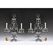 Pair of Cut Glass Electric Candelabras or Candelabrum