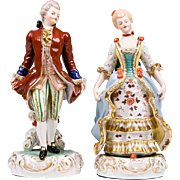 Pair of Porcelain Court Figures, Hand Painted
