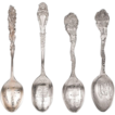 Set of Four Antique Sterling Silver Souvenir Demitasse Spoons