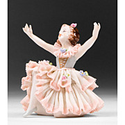 Volkstedt Porcelain Figurine of Ballerina In Lacy Skirt