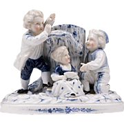 Blue & White German Porcelain Spill Vase, 19th C.