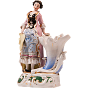 19th C. Paris Porcelain Spill Vase With Female Figure