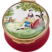 1970  1979 Bilston And Battersea Halcyon Days Enamel Anniversary Box