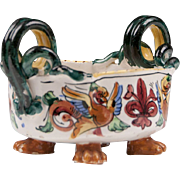 Raffaellesco Style Fratelli Fanciullacci Snake Handle Footed Majolica Bowl