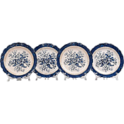 Set of 4 Matching Booths Peony Dinner Plates, With Trim