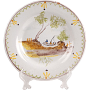 19th C. Quimper Faience Dinner Plate