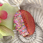 Pink & Red Dichroic Fused  Glass Pendant Necklace