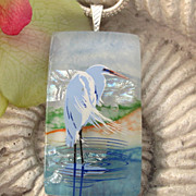 SOLD Blue Heron Necklace Fused Dichroic Glass Jewelry, Dichroic Glass Pendant Necklace