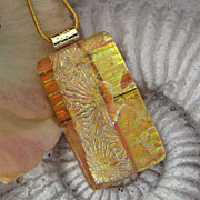 Amber Fused  Dichroic Glass Necklace