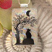 SOLD Waiting for the Full Moon Kitty Necklace -  Cat Pendant - Dichroic Glass Jewelry