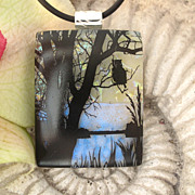 SOLD Owl Necklace, Fused Dichroic Glass Jewelry, Dichroic Necklace, Nature Necklace
