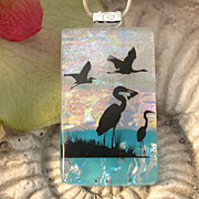 SOLD Heron Sanctuary Bird Fused Dichroic Glass Jewelry