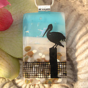 Pelican Fused Dichroic Glass Pendant Necklace