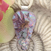 SALE PENDING Fairy Angel Princess Fused Dichroic Glass Pendant Necklace