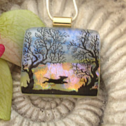 SOLD Joyful Run Fused Dichroic Glass Pendant Necklace