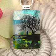 SOLD Reflection Tree Fused Dichroic Glass Pendant Necklace