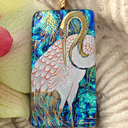 SOLD Crane Exotic Bird Dichroic Glass Necklace Jewelry