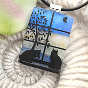 SOLD Daily Rituals Fused Dichroic Glass Cat Pendant Necklace