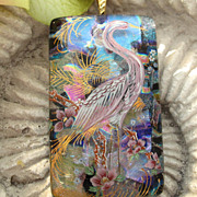 SOLD Exotic Egret Fused Dichroic Glass Pendant Necklace