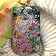 SOLD Exotic Egret Bird Fused Dichroic Glass Pendant Necklace