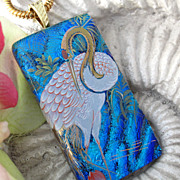 SOLD Crane Exotic Bird Dichroic Glass Necklace Jewelry Dichroic Glass Jewelry  Fused glass Jew