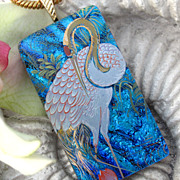 Crane Exotic Bird Dichroic Glass Necklace Jewelry
