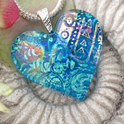 SOLD Aqua Blue Fused Dichroic Glass Heart Pendant Necklace - Dichroic Jewelry