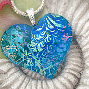 Aqua Blue Fused Dichroic Glass Heart Pendant Necklace - Dichroic Jewelry