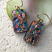 SOLD Rainbow Dichroic Glass Earrings - Fused Glass Jewelry