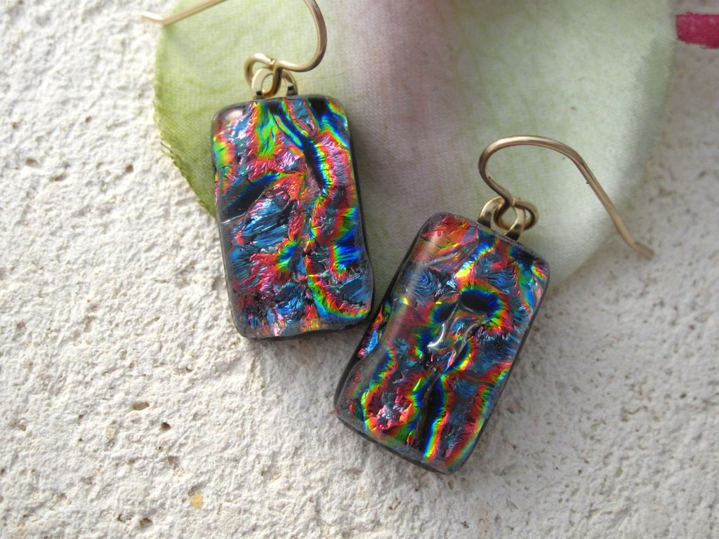 Rainbow Dichroic Glass Earrings - Fused Glass Jewelry