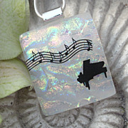SOLD Reserved Custom Piece - Dichroic Glass Piano Pendant - Fused Glass