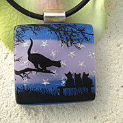 SOLD Tabby Night School Fused Dichroic Glass Pendant Necklace