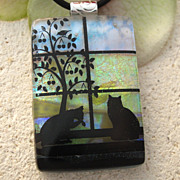 SOLD Daily Rituals Fused Dichroic Glass Cats Pendant & Necklace