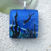 Diver Fused Dichroic Glass Pendant Necklace